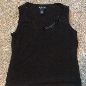 Black tank with beading